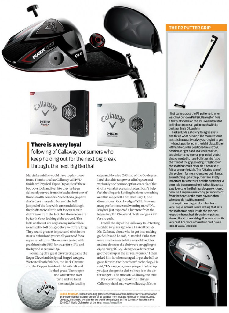 Golf Digest Ireland Review Callaway Razr Fit & P2 Putter Grip